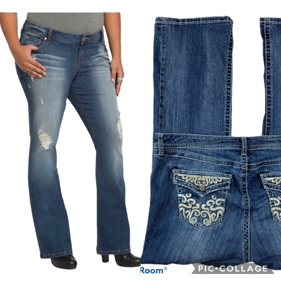 torrid Denim - 🌻SOLD🍁 Torrid Distressed Relaxed Boot Jeans 16